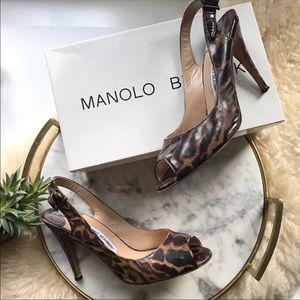 Manolo Blahnik • 105mm Score Leopard Peep Toe Heel
